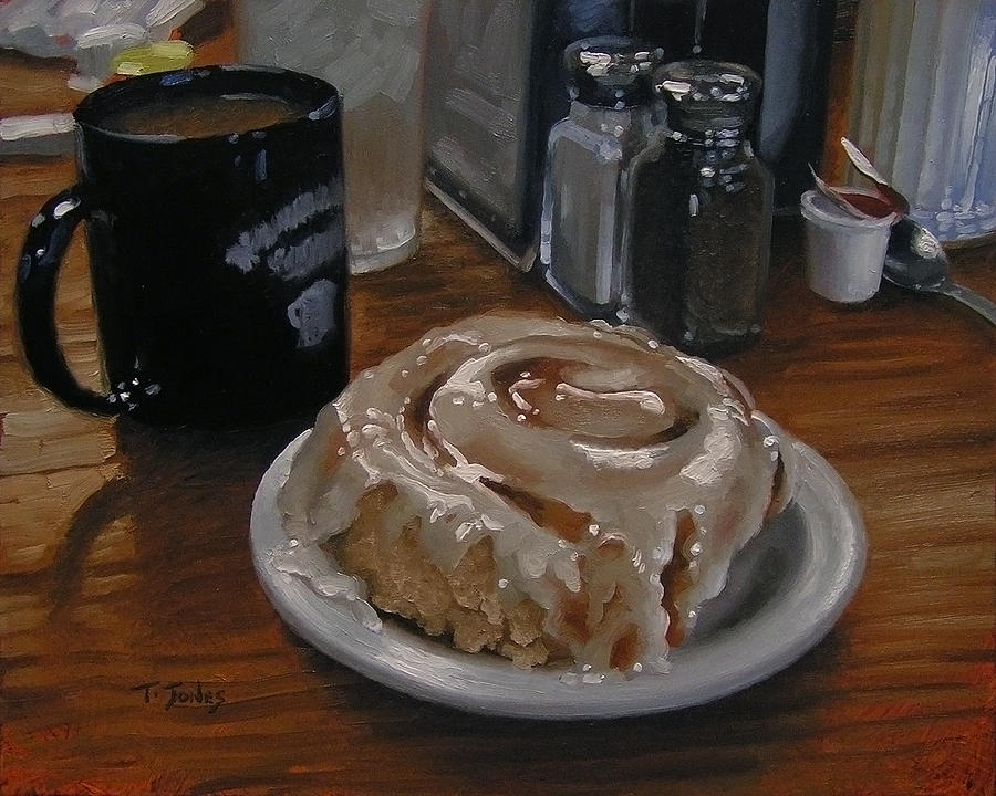 Cinnamon Roll Painting - Cinnamon Roll At Wesners Cafe by Timothy Jones