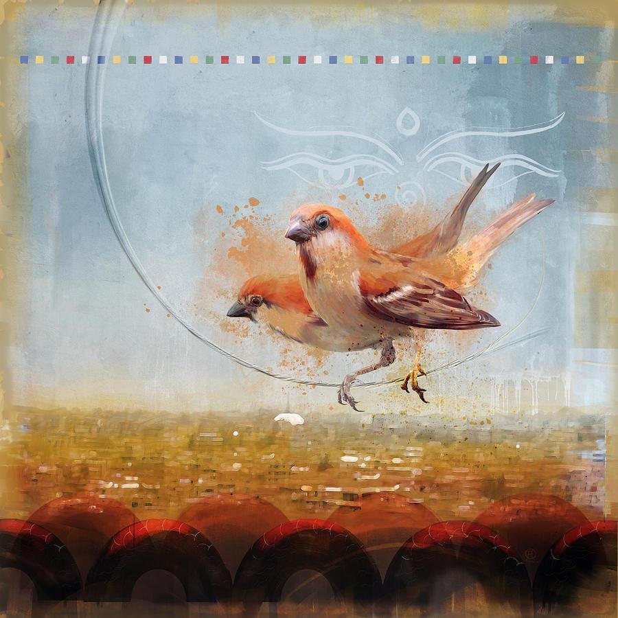 Birds Painting - Cinnamon Sparrows by Alex Tomlinson