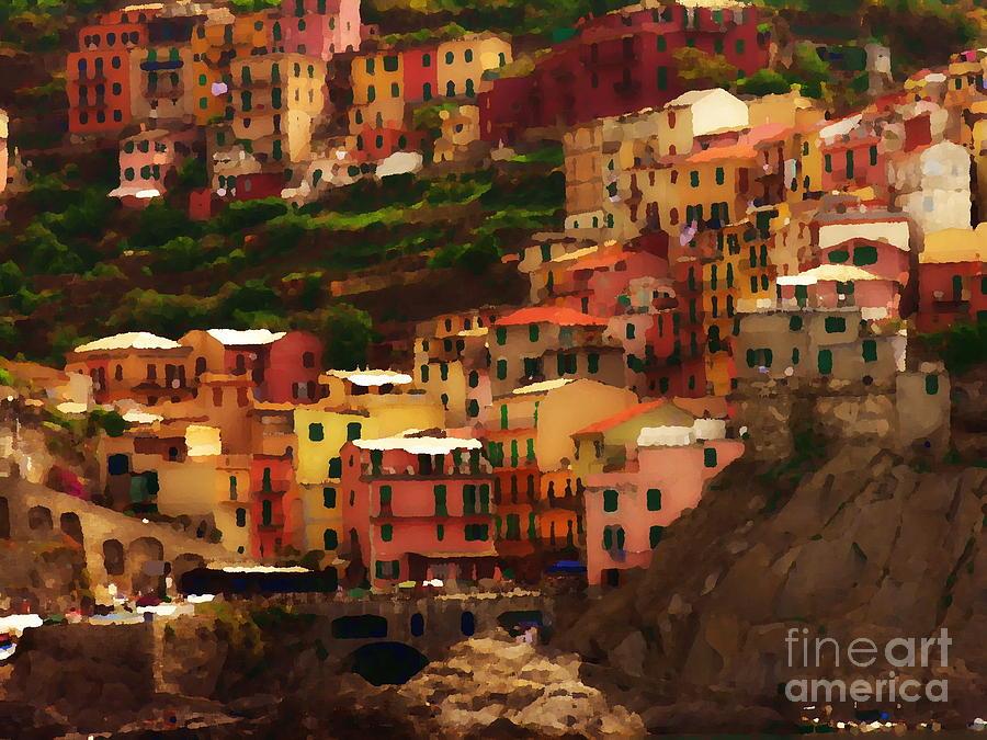 Cinque Terre - Manarola - Abstract by Jacqueline M Lewis