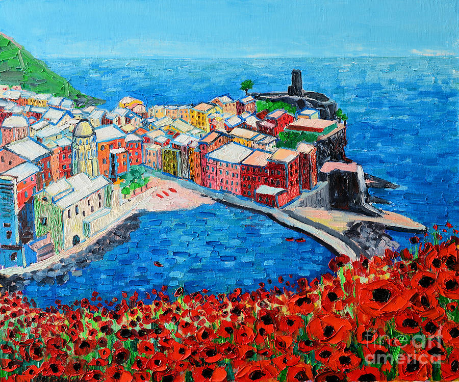 Cinque Painting - Cinque Terre Vernazza Poppies by Ana Maria Edulescu