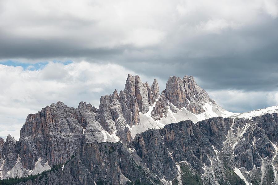 Scenic Photograph - Cinque Torri Area In The Dolomites by Marcos Ferro