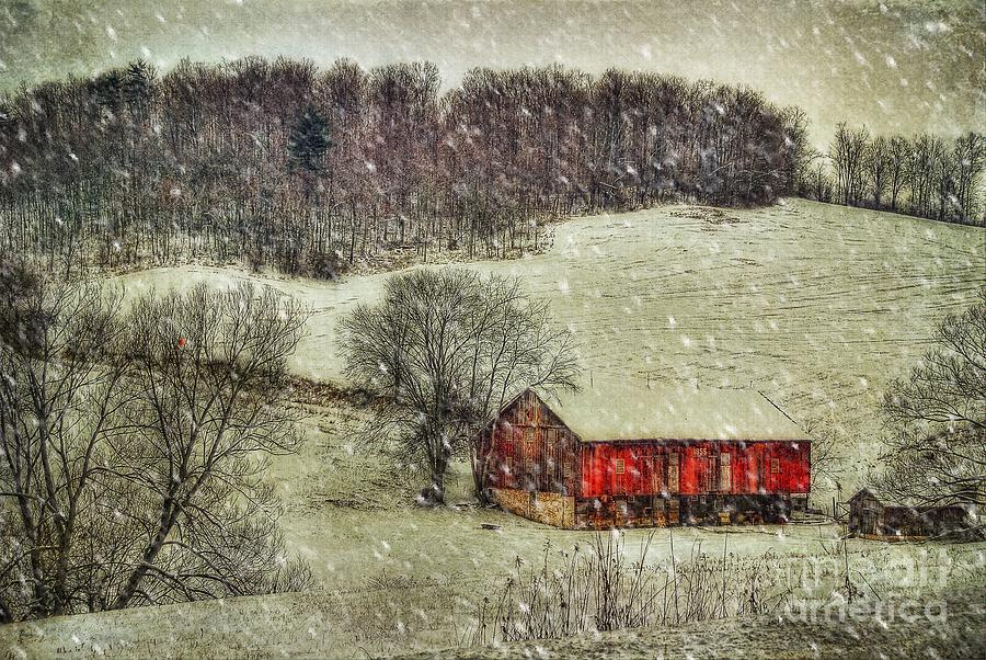 Red Barn Photograph - Circa 1855 by Lois Bryan