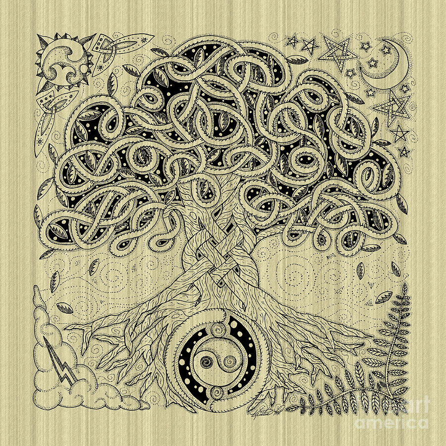 Circle Celtic Tree Of Life Inked Drawing By Kristen Fox