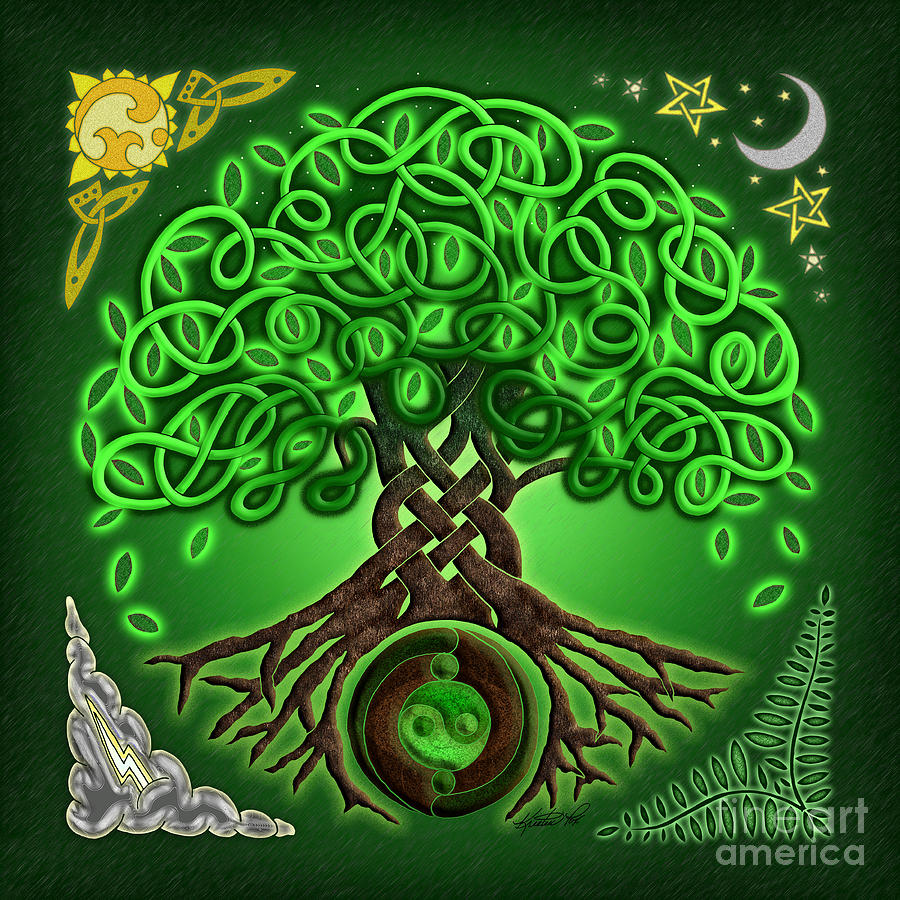 Circle Celtic Tree Of Life Mixed Media By Kristen Fox