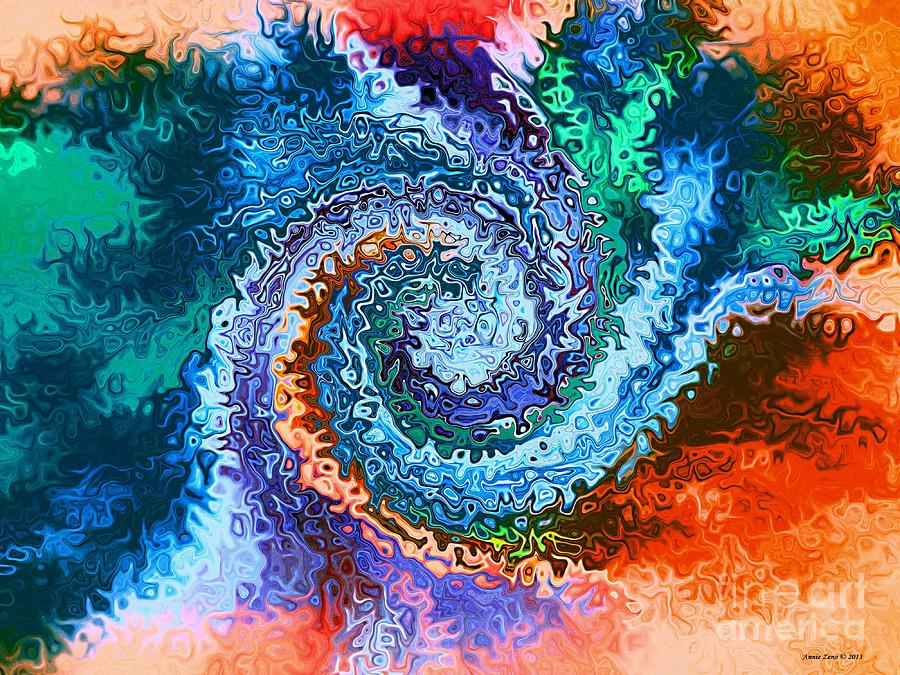 Abstract Digital Art - Circle Of Colors Abstract Art by Annie Zeno