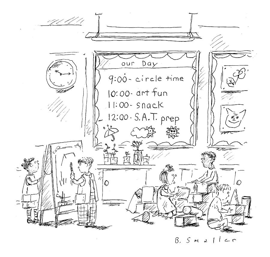 Circle Time: Art Fun: Snack: S.a.t. Prep Drawing by Barbara Smaller