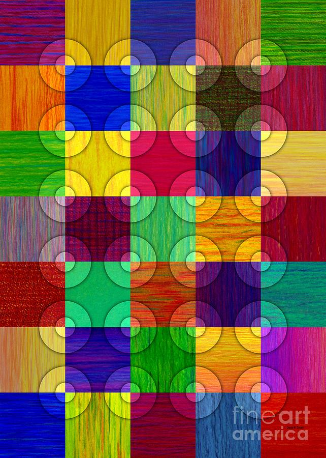 Colored Pencil Painting - Circles Over Squares by David K Small