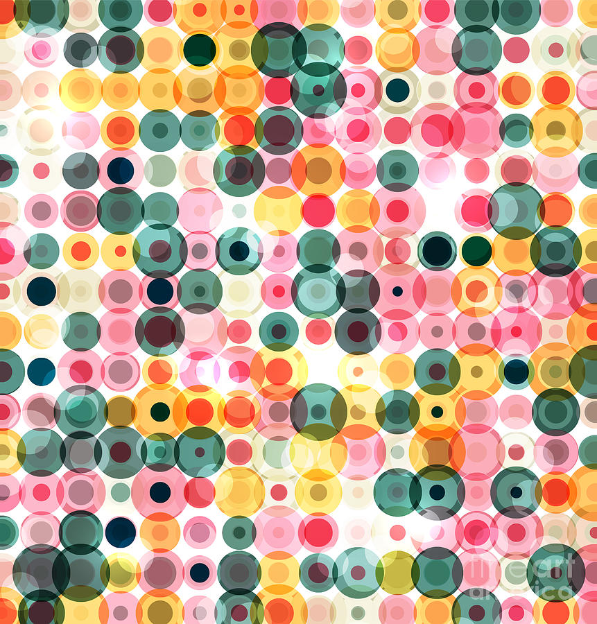 Color Digital Art - Circles Pattern Retro Background by Reuki