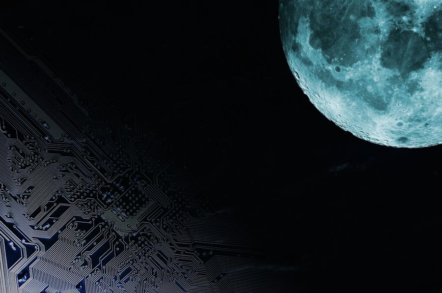 Artwork Photograph - Circuit Board And Moon by Christian Lagerek/science Photo Library
