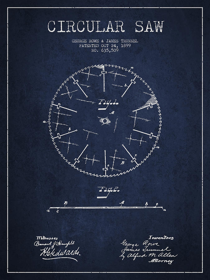 Saw Digital Art - Circular Saw Patent Drawing From 1899 by Aged Pixel
