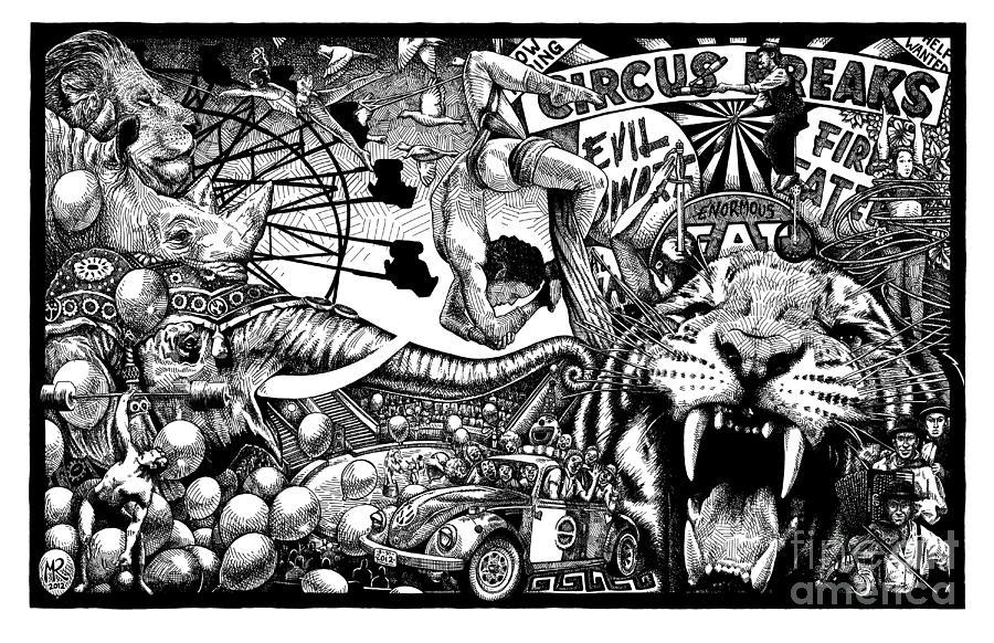 Circus Drawing - Circus Breaks by Matthew Ridgway