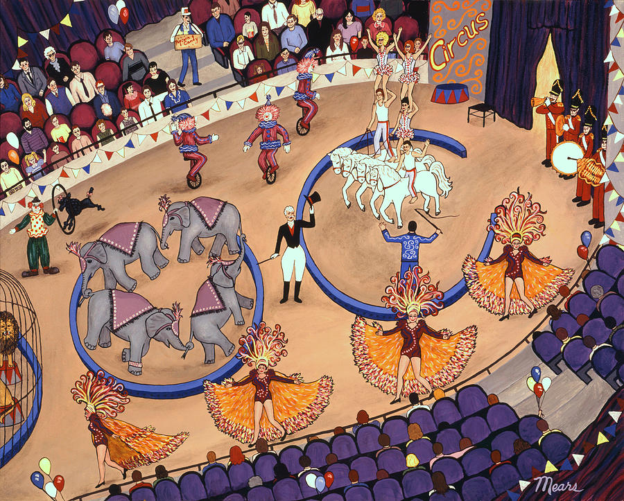 Circus Painting - Circus Ladies by Linda Mears