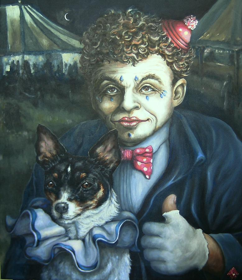 Oil Painting Painting - Circus Memories Of A Little Dog by Pamela Humbargar