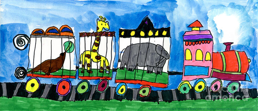 Circus Painting - Circus Train by Max Kaderabek Age Eight