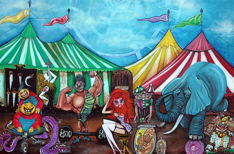 Circus Painting - Cirque De Freaks by Laura Barbosa