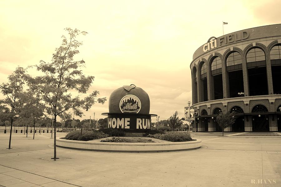 Shea Stadium Photograph - Citi Field In Sepia by Rob Hans