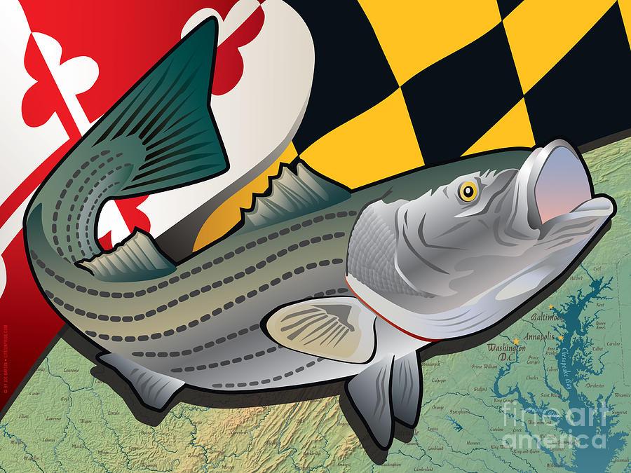 Rockfish Digital Art - Citizen Rockfish of Maryland by Joe Barsin