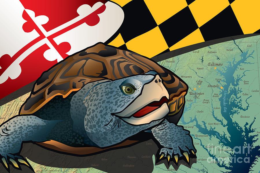Chesapeake Bay Digital Art - Citizen Terrapin Marylands Turtle by Joe Barsin