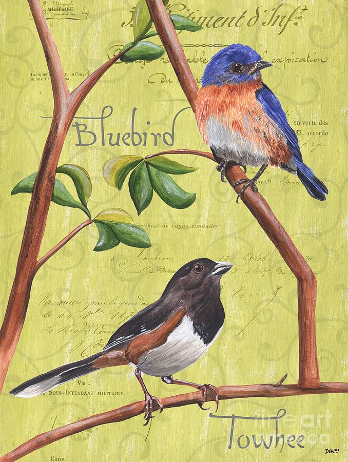 Bird Painting - Citron Songbirds 1 by Debbie DeWitt