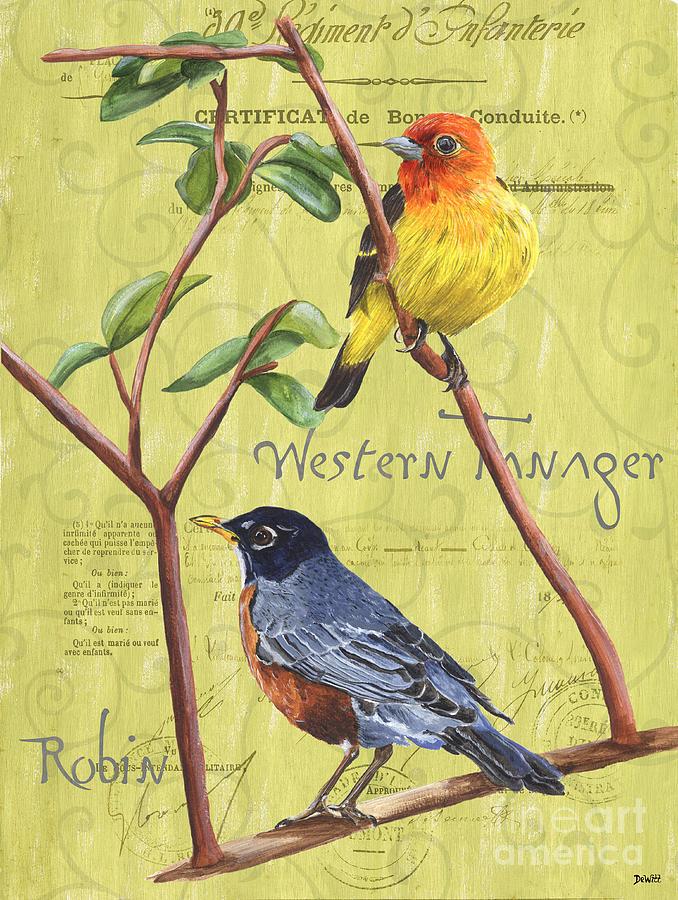 Bird Painting - Citron Songbirds 2 by Debbie DeWitt