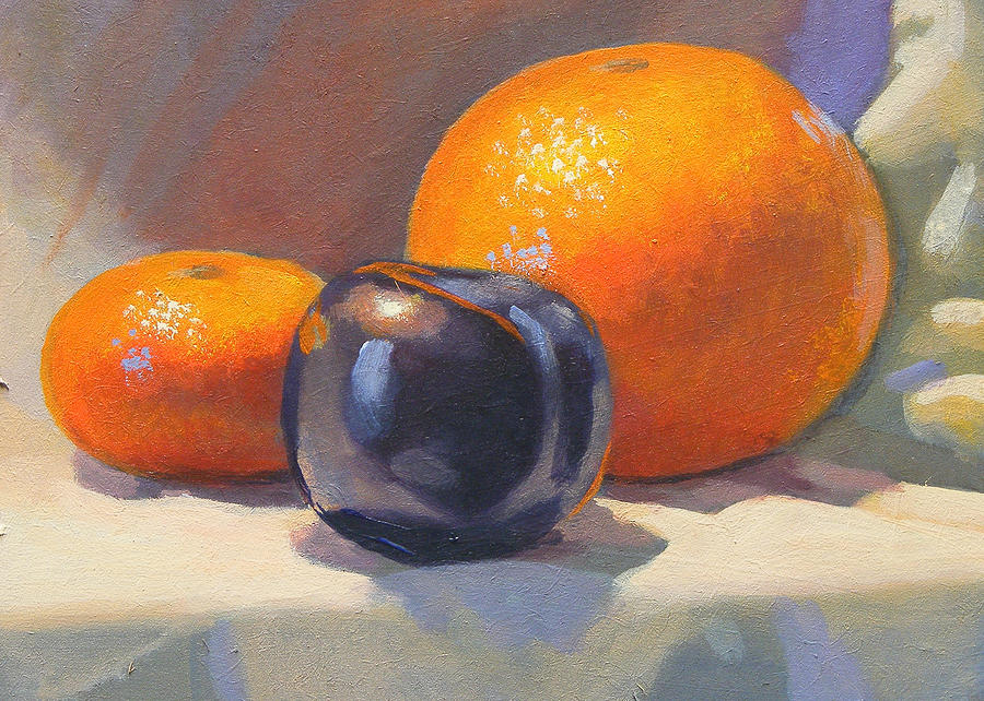 Orange Painting - Citrus And Plum by Peter Orrock