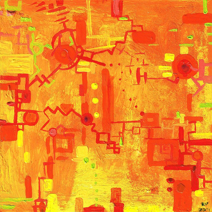 Machinery Painting - Citrus Circuitry by Regina Valluzzi