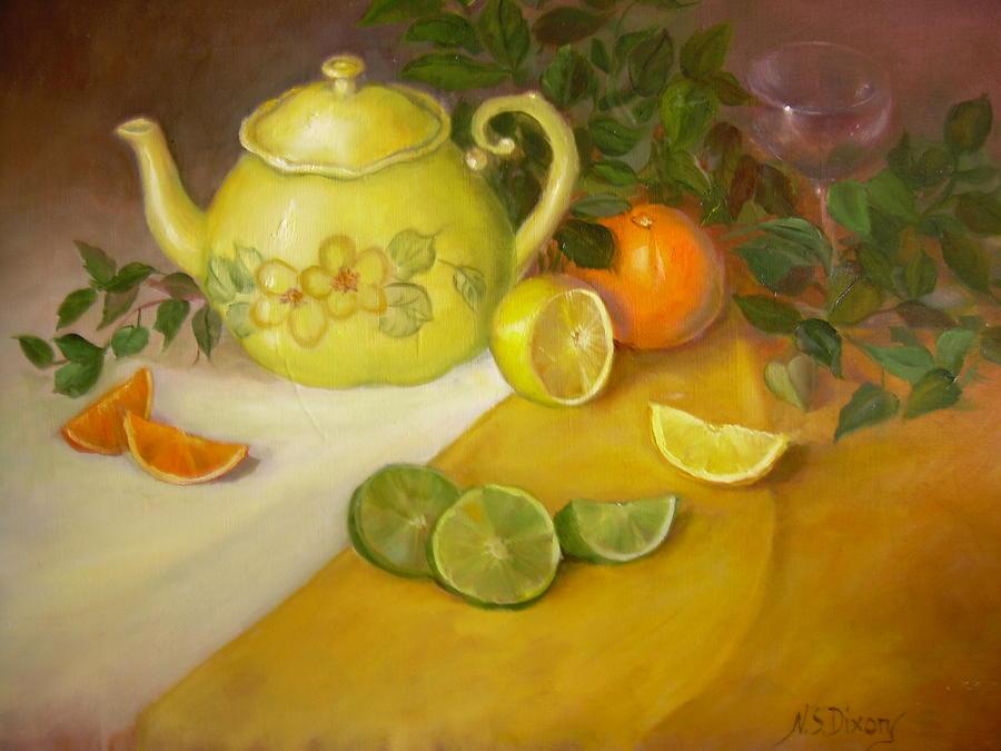 Stillife Painting - Citrus n Tea by Naomi Dixon