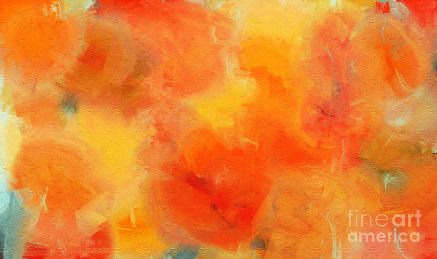Andee Design Orange Digital Art - Citrus Passion - Abstract - Digital Painting by Andee Design