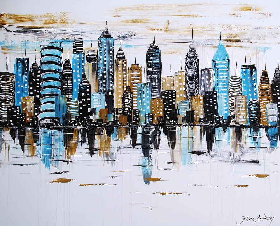 city abstract painting by jolina anthony