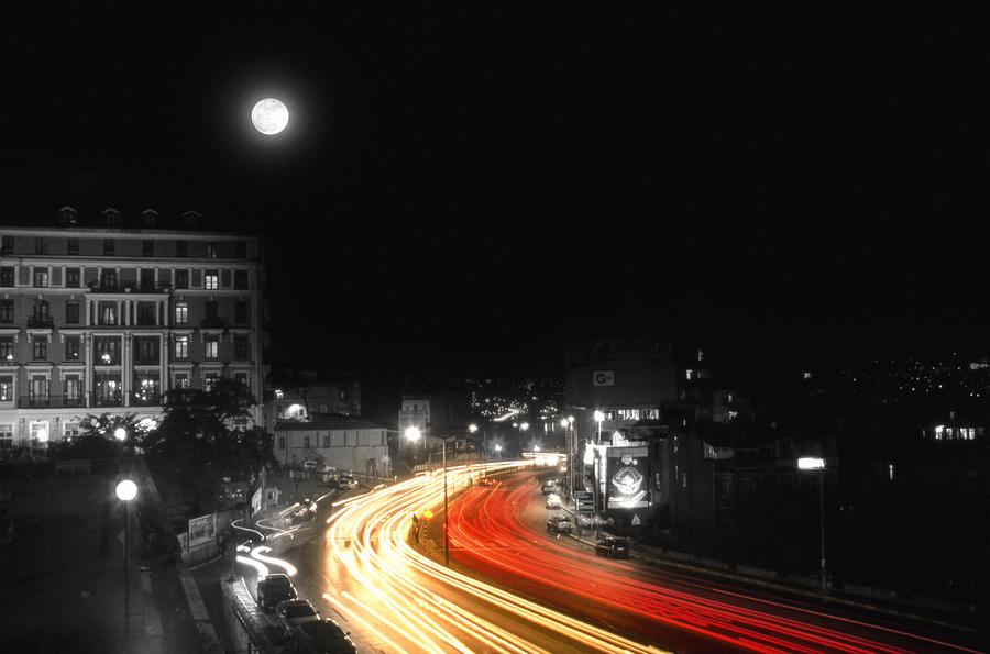 Cityscape Photograph - City And The Moon by Taylan Apukovska