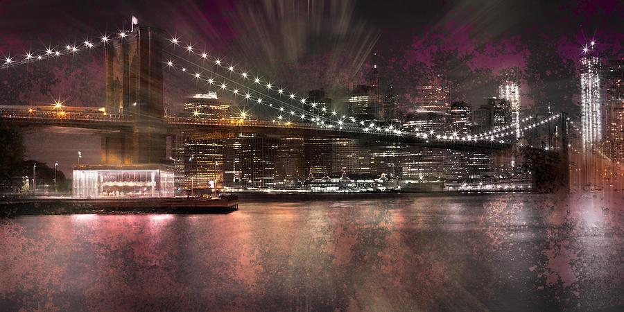 New York Photograph - City-art Brooklyn Bridge by Melanie Viola