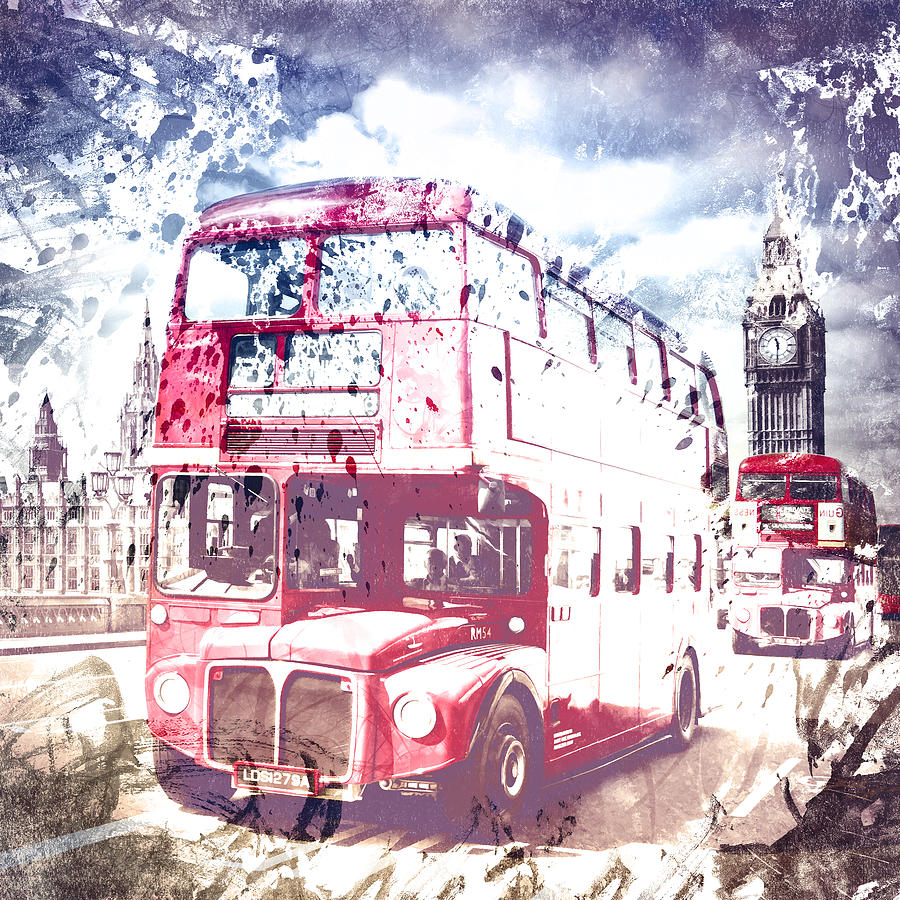 British Photograph - City-art London Red Buses On Westminster Bridge by Melanie Viola