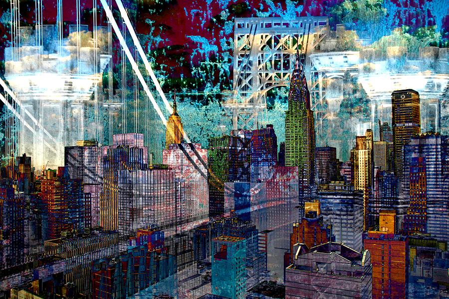 Cityscape Digital Art - City Art Squire Differed Bright by Mary Clanahan