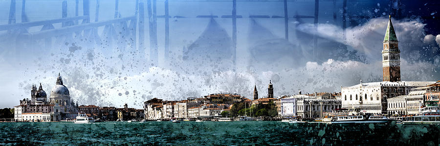 Abstract Photograph - City-art Venice Panoramic by Melanie Viola