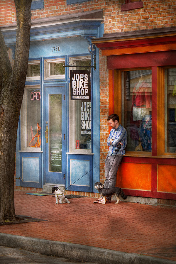 Baltimore Photograph - City - Baltimore Md - Waiting By Joes Bike Shop  by Mike Savad