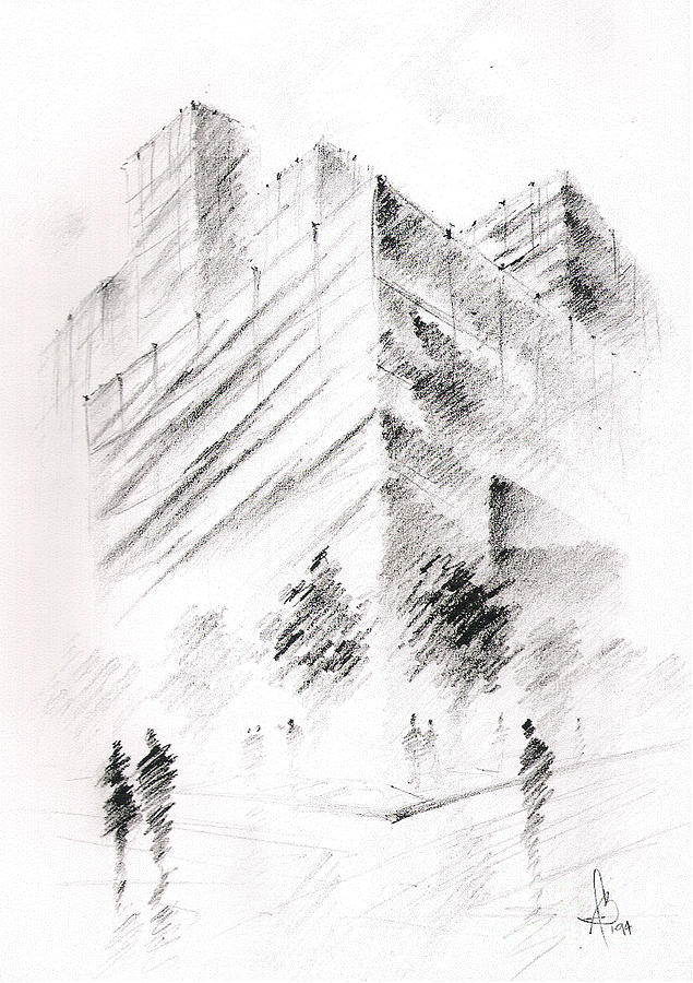 Building Drawing - City Building by Fanny Diaz
