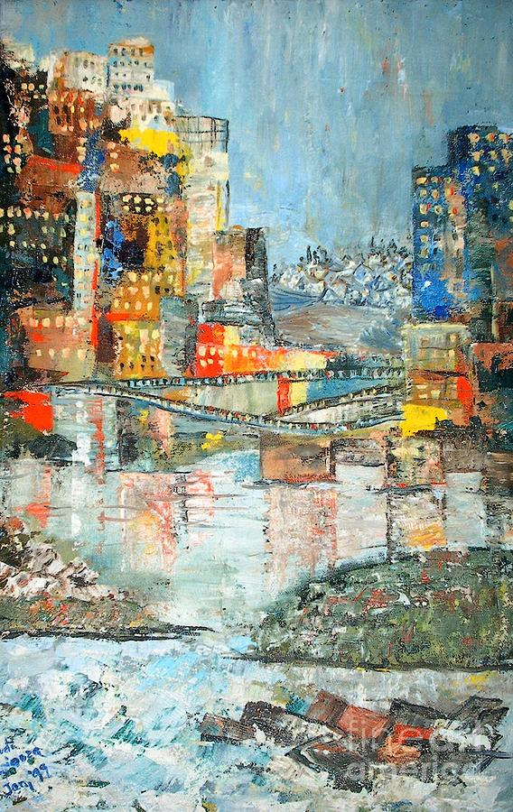 Cityscape Painting - City By The River - Sold by Judith Espinoza