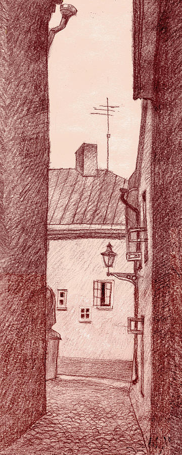 Estonia Drawing - City Corridor A by Serge Yudin