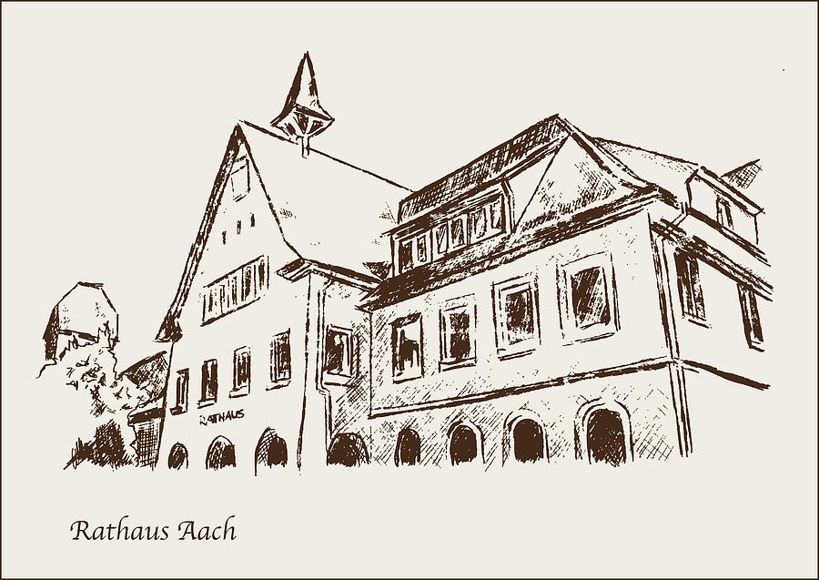 City Hall Aach Germany Drawing By Michael Kuelbel