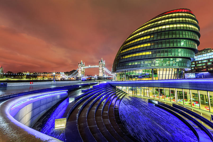 City Hall And Tower Bridge At Night Photograph by Joe Daniel Price