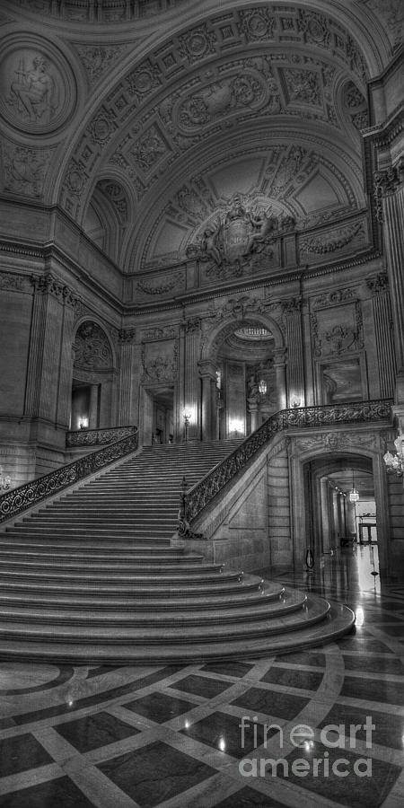 Black And White Photograph - City Hall Grand Stairs by David Bearden