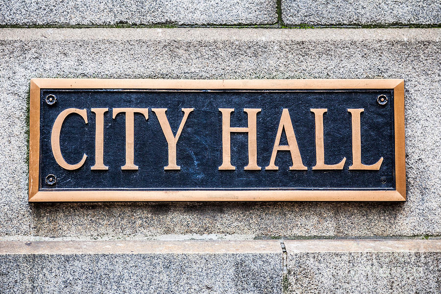 Chicago Photograph - City Hall Municipal Sign In Chicago by Paul Velgos