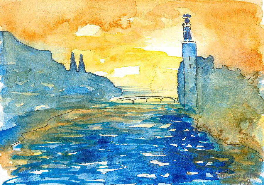 Landscape Painting - City Hall Stockholm by Ingela Christina Rahm