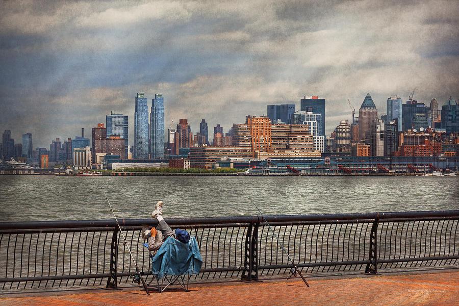 Savad Photograph - City - Hoboken NJ - Fishing - The good life  by Mike Savad