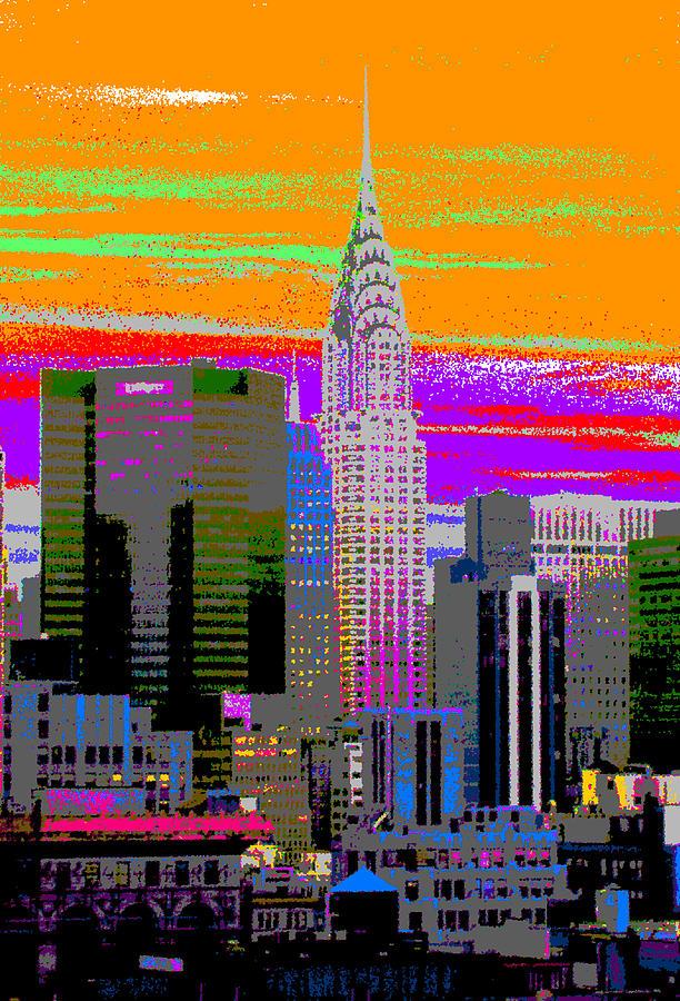 Cityscape Painting - New York City Skyline In Orange by Habib Ayat