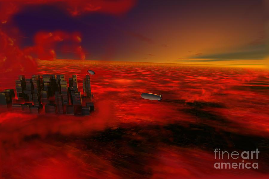 City Digital Art - City In The Sky by John Kreiter