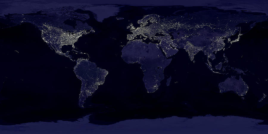 Earth At Night Photograph - City Lights by Sebastian Musial