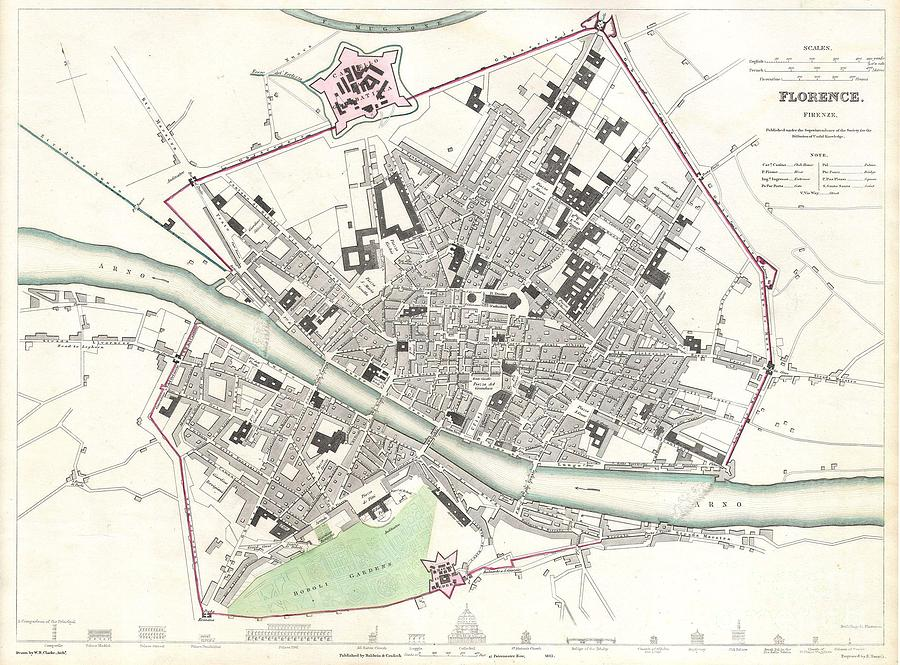 London Photograph - City Map Or Plan Of Florence Or Firenze by Paul Fearn