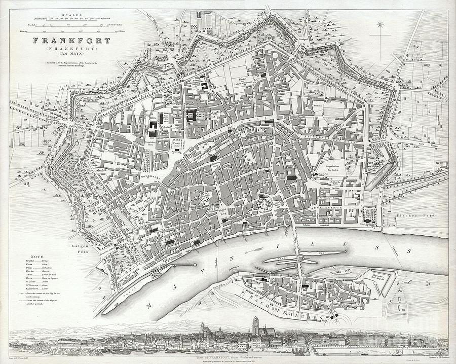 Bridges Photograph - City Map Or Plan Of Frankfort Germany by Paul Fearn