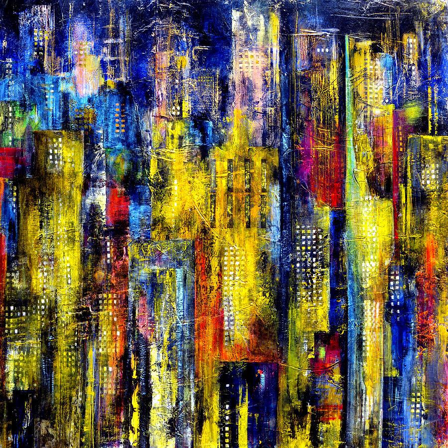 Katie Painting - City Nightime Metropolis by Katie Black